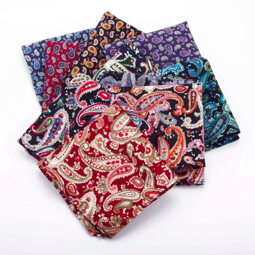 100% Cotton Paisley Pattern Pocket Squares