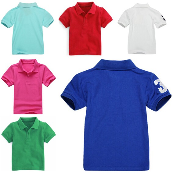 Boys Classic Solid Color Polo T- Shirts