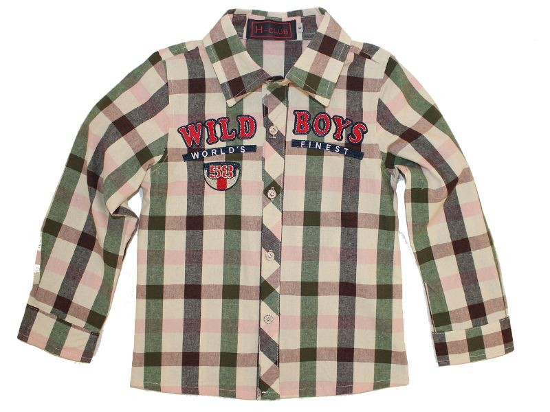 Boys Cotton Long Sleeve Plaid Collar Shirts