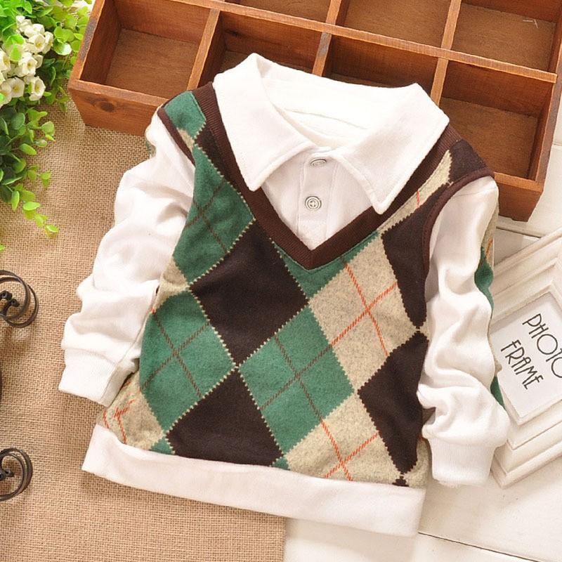 Boys Fashion Long Sleeve Polo Shirts