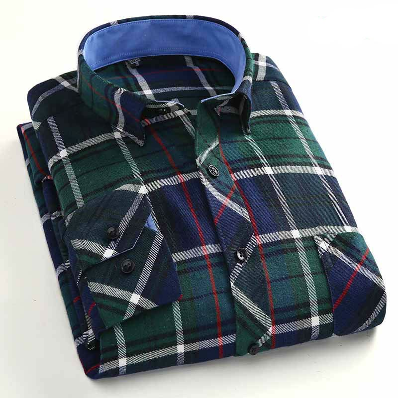 Casual Long Sleeve Mens Plaid Shirts