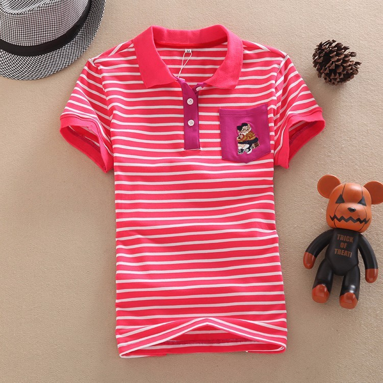Colorful Stripe Women Short Sleeve Polos