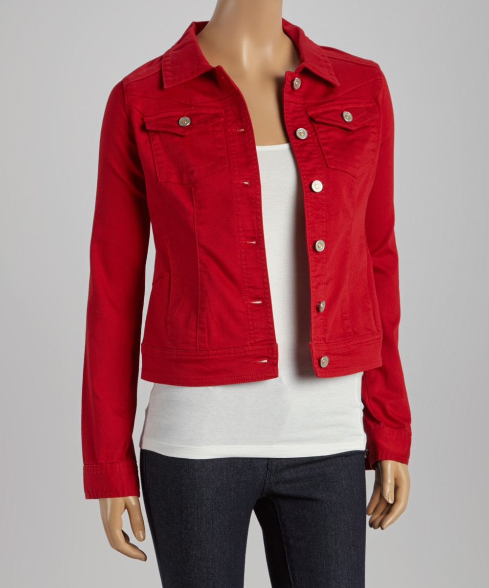 Red Women Denim jacket