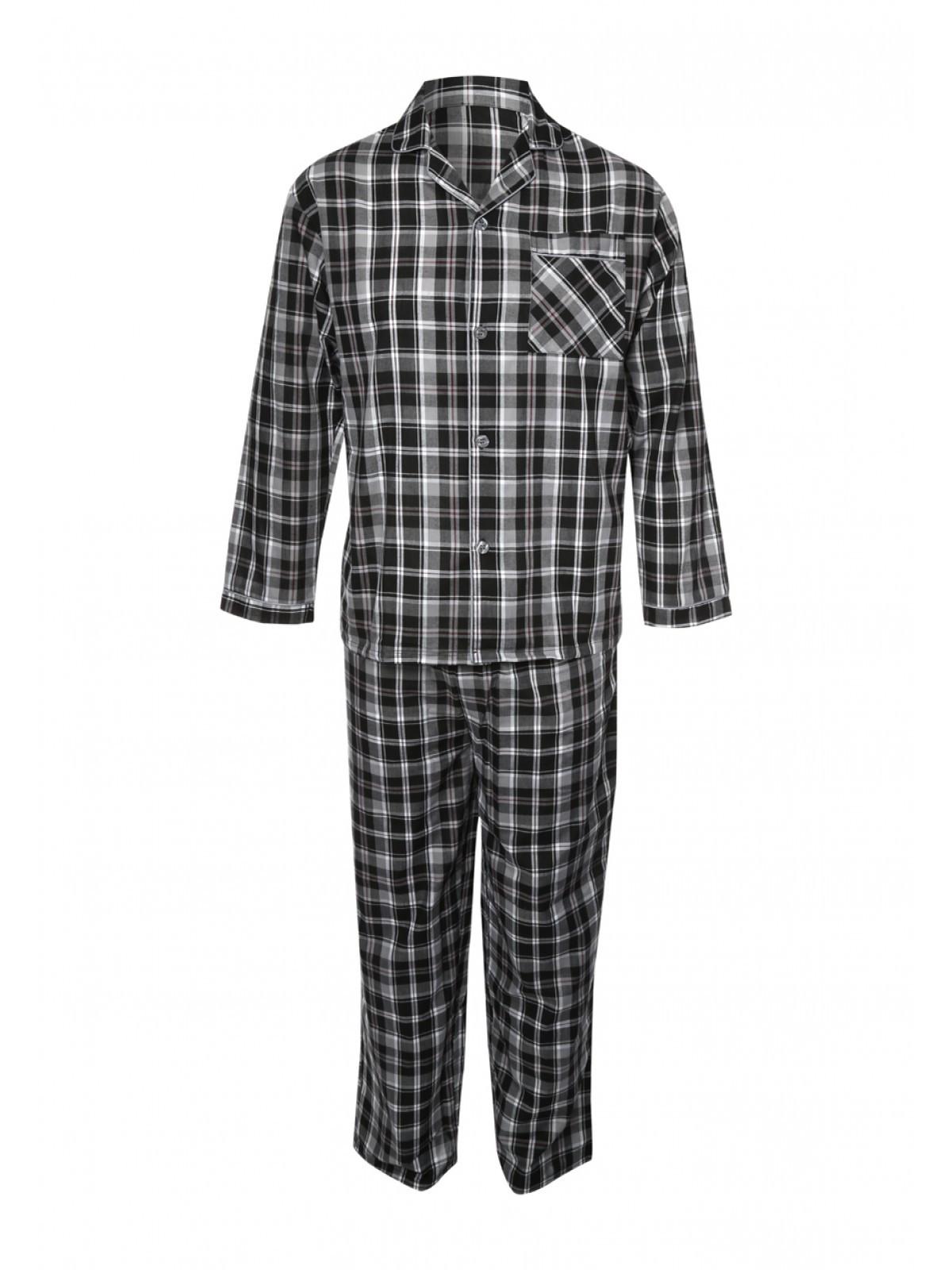 Mens Black Check Pajama Set