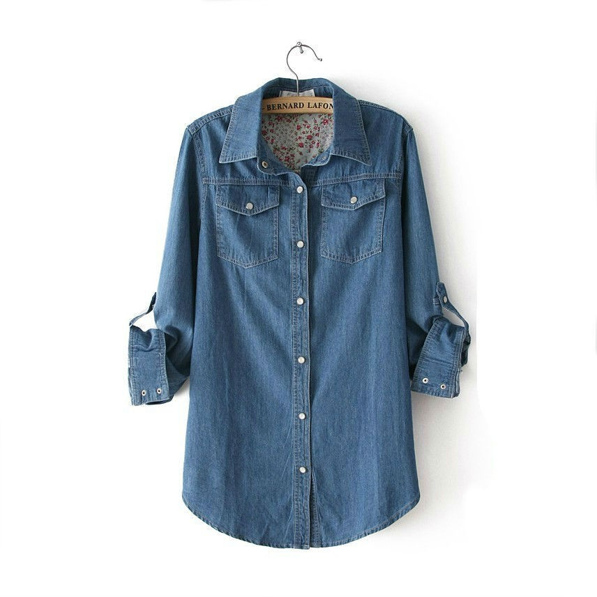 Denim Cotton Casual Women Polo Shirts