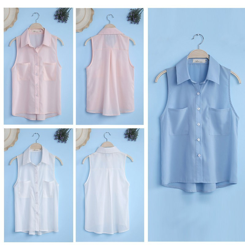 Elegant Womens Sleeveless Chiffon Shirts