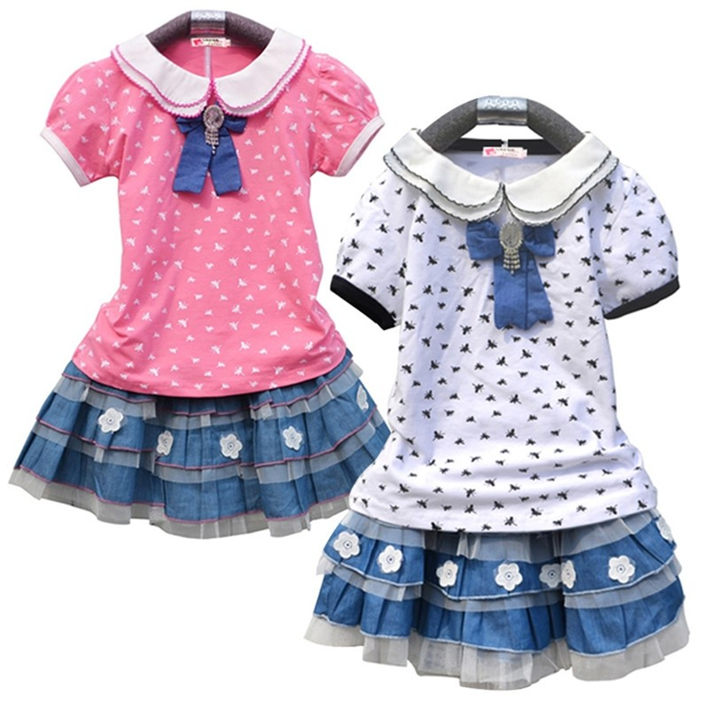 Girls Doll Neck Short Sleeve Printed Skirt Sets