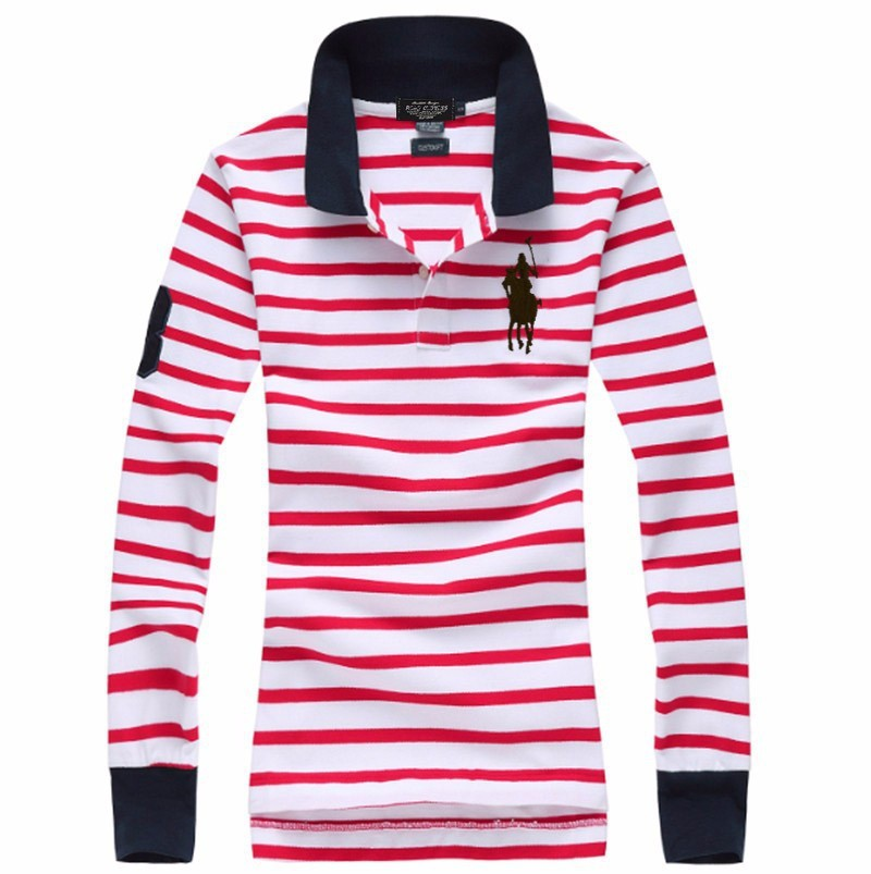 High Quality Casual Stripe Womens Polo Tshirts