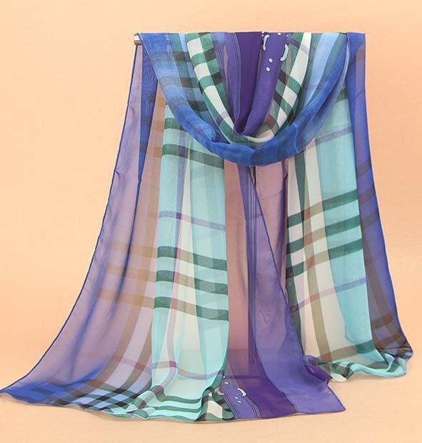 High Quality Silk Plaid Women Fashion Scarves