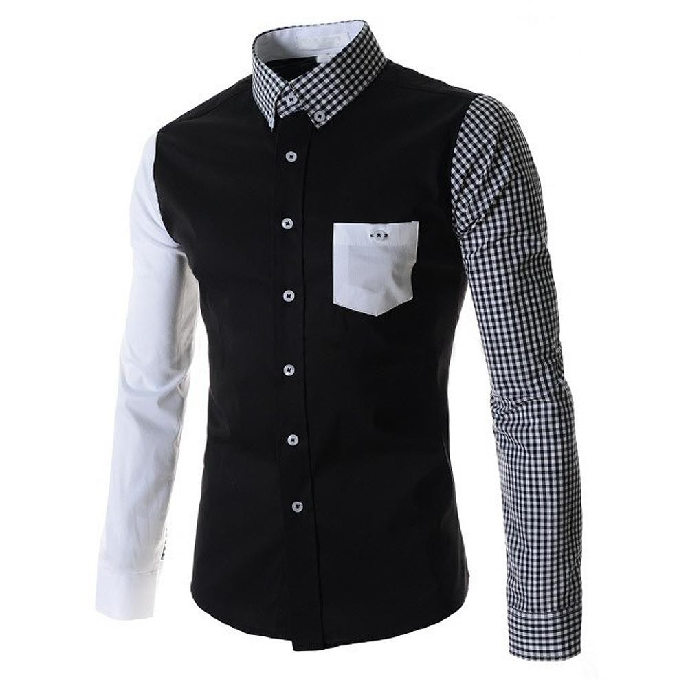 Mens Black Casual Slim Fit Long Sleeved Shirt