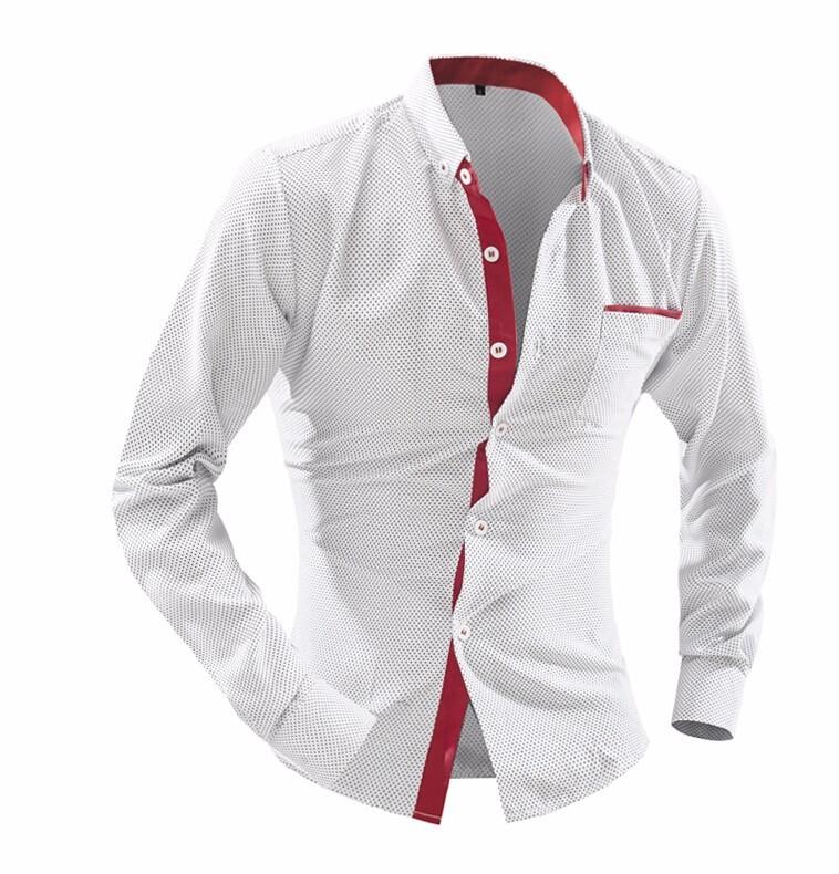 Mens Casual Polka Dot Pattern Shirts
