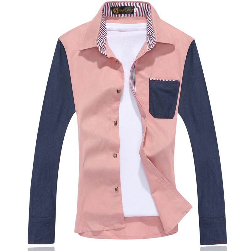 Mens Casual Slim Turn Down Collar Pocket Shirts
