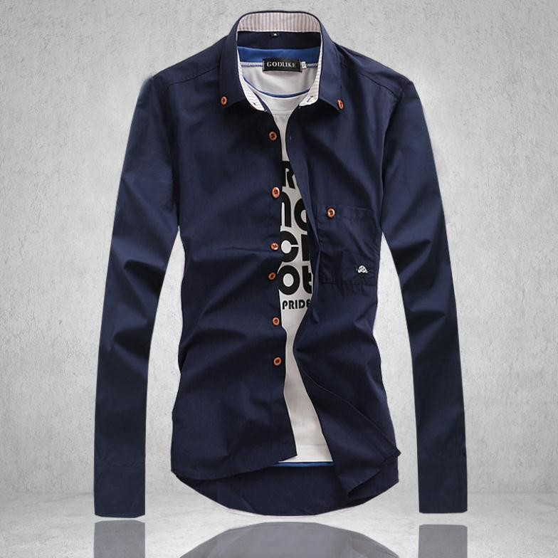 Mens Casual Solid Slim Fit Long Sleeve Shirts