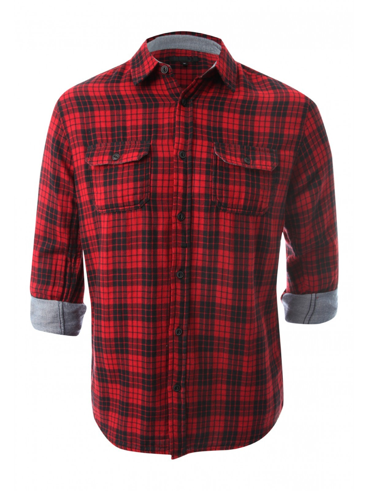 100 % Cotton Casual Red Black Check Shirt