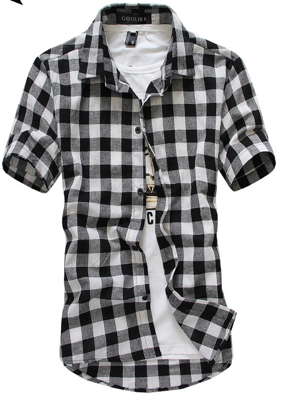 Mens Classic Plaid Short-Sleeved Shirts