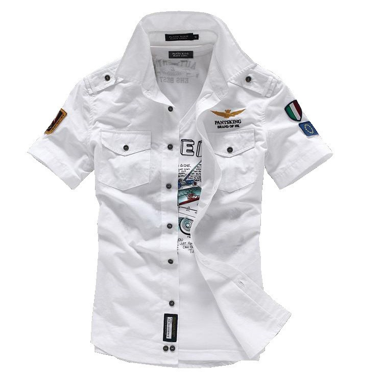Mens Cotton Short Sleeve Casual Shirts