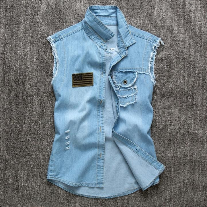 Mens Denim Sleeveless Shirts