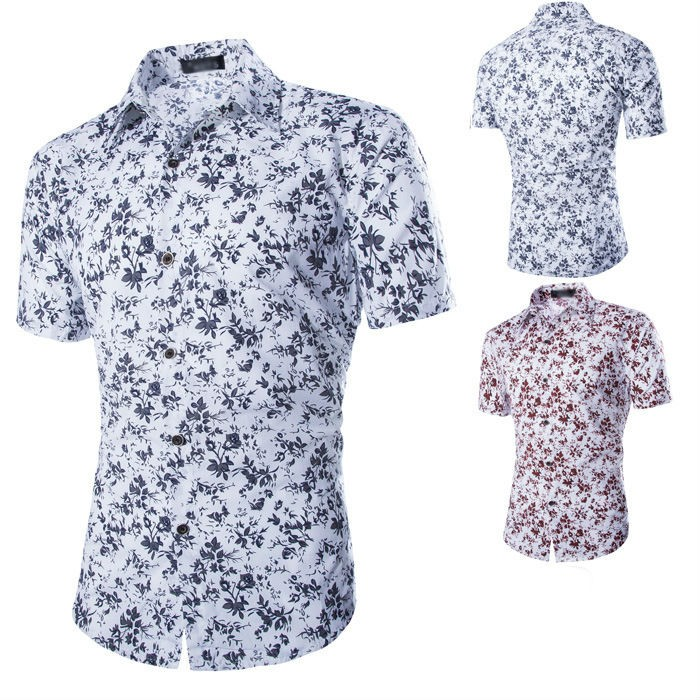 Mens Floral Short Sleeved Cotton Shirts