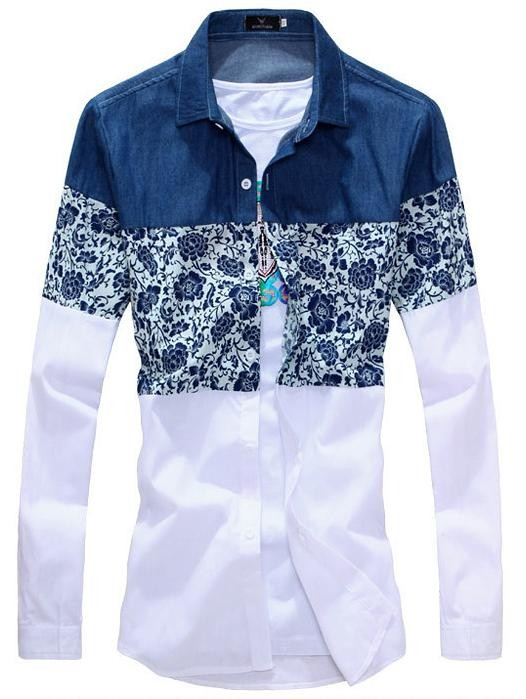 Mens Flower Patchwork Long Sleeve Shirts