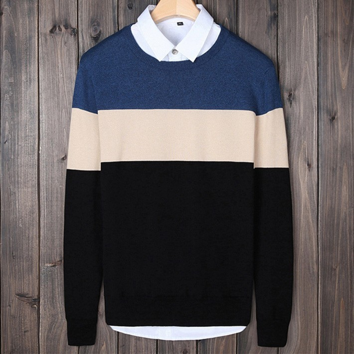 Mens Knitted Contrast Color Patchwork Sweaters