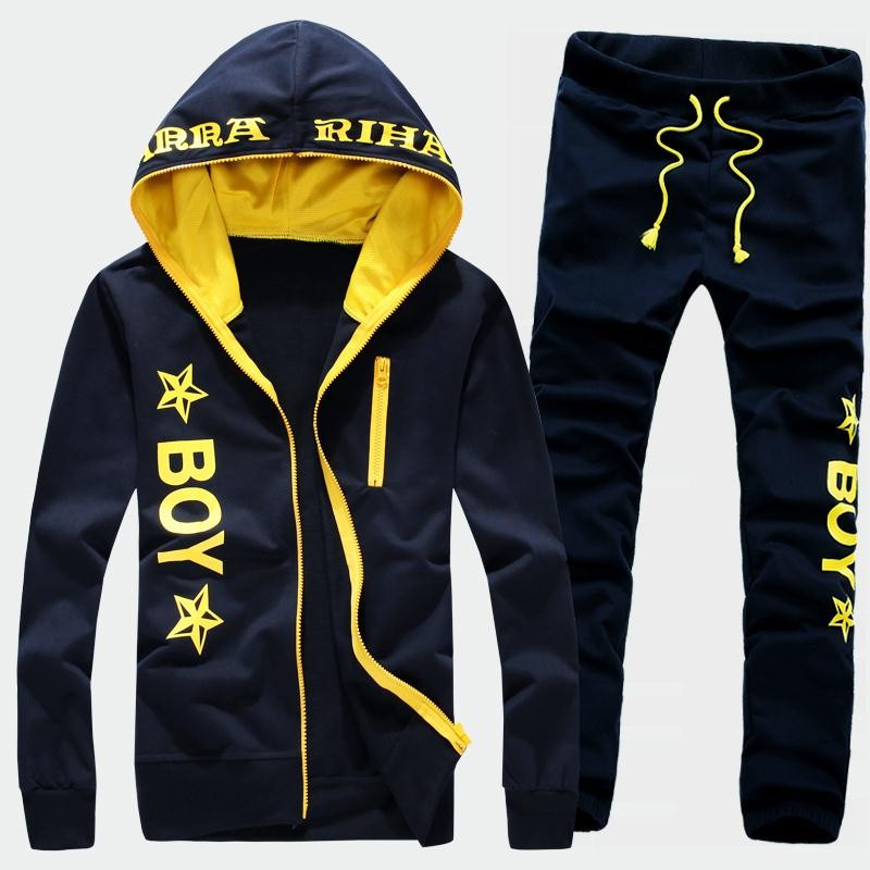 Mens Letter Print Sports Sweatshirt & Pants