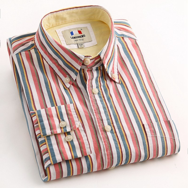 Mens Long Sleeve Cotton Striped Shirts