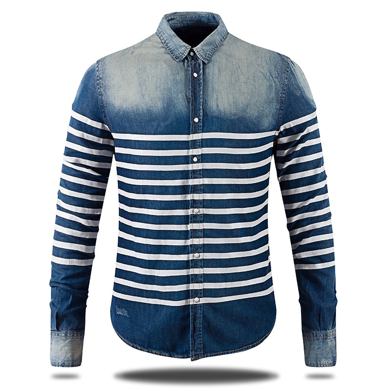 Mens Long Sleeve Slim Fit Denim Shirts