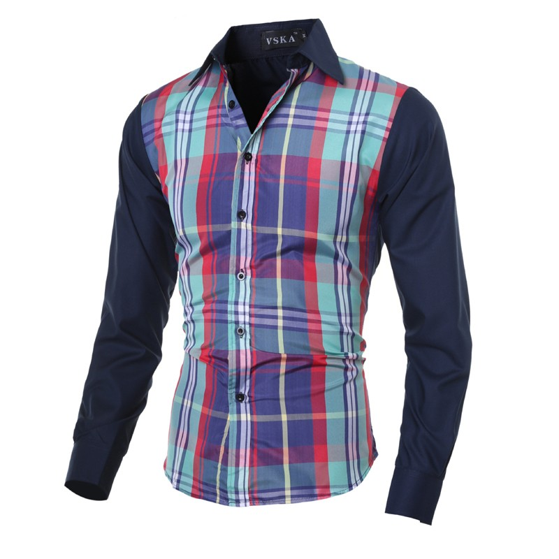 Mens New Arrival Plaid Slim Fit Long Sleeve Shirts