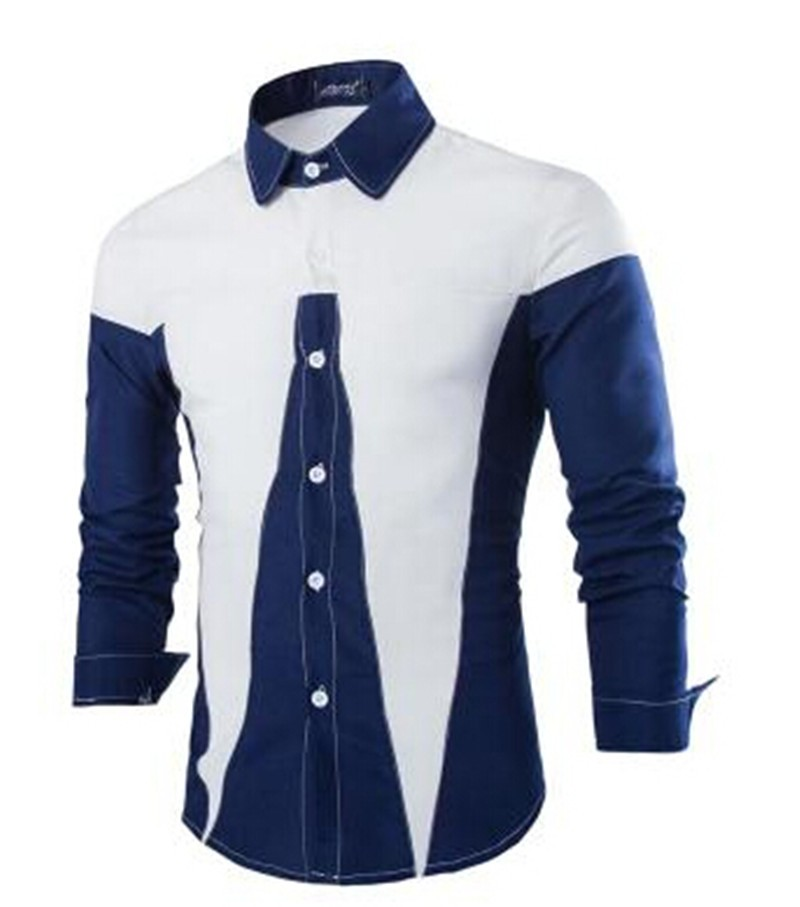 Mens new fashion patchwork slim fit shirts creative india for In style mens shirts