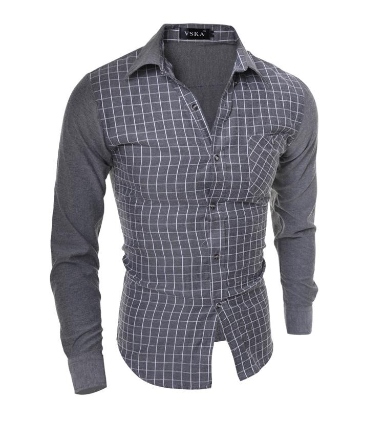 Mens New Fashion Plaid Cotton Shirts
