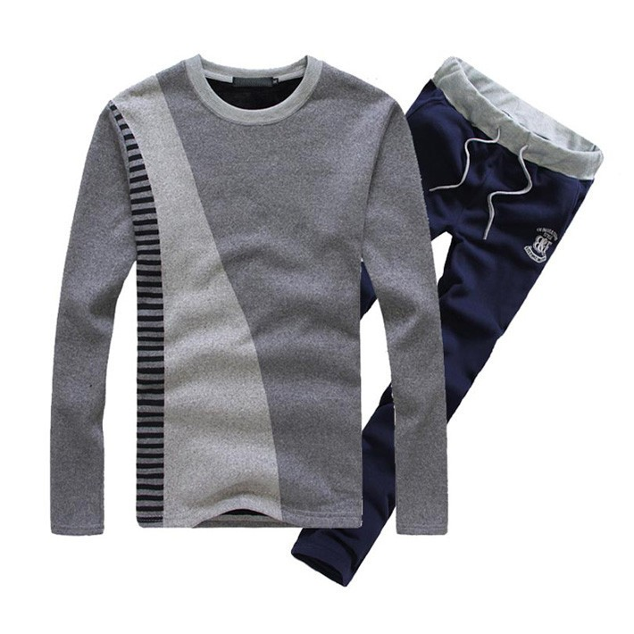 Mens O-Neck Cotton Pullover Drawstring Pant Sets