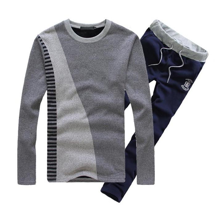 Mens O-Neck Cotton Pullover Drawstring Pant Sets