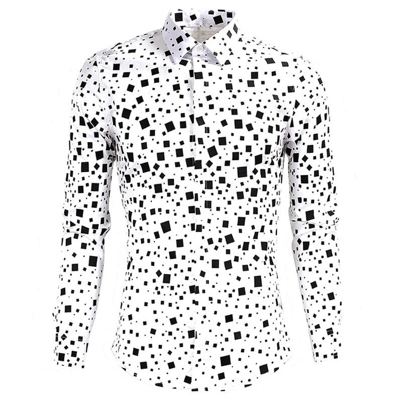 Mens Polka Dot Casual Long Sleeve Shirts