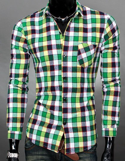 Mens Slim Fit Long-Sleeve Plaid Shirts