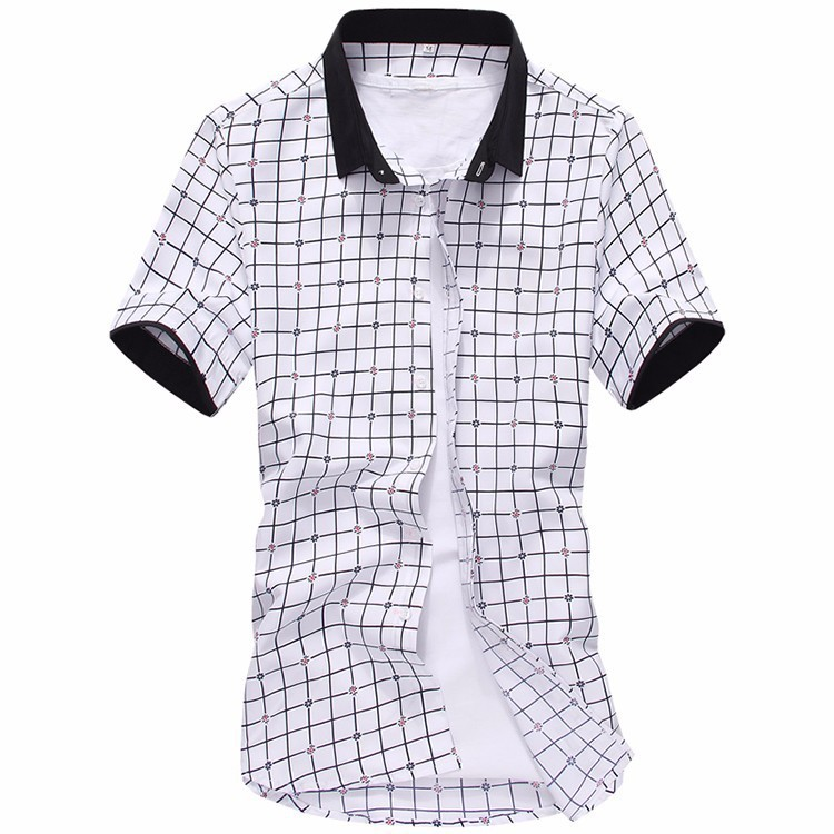 Mens Striped Short-Sleeved Plaid Shirts