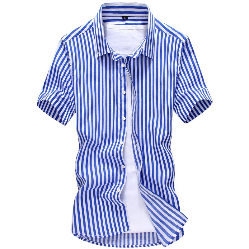 Mens Striped Short Sleeve Cotton Shirts