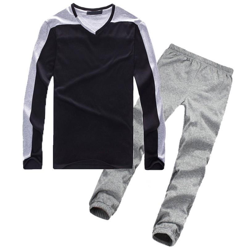 Mens V-Neck Pullovers And Elastic Waist Set