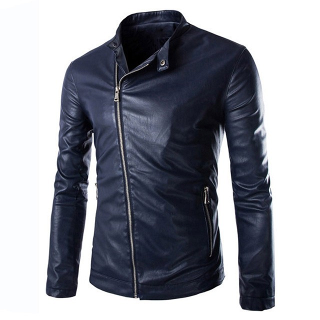 Mens Winter PU Leather Slim Fit Oblique Zipper Jackets