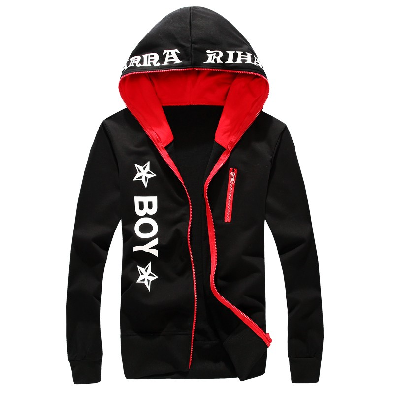 Mens Zipper Design Hooded Sweatshirts