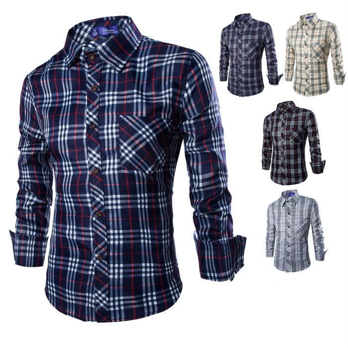 New Arrival Mens Plaid Long Sleeve Shirts