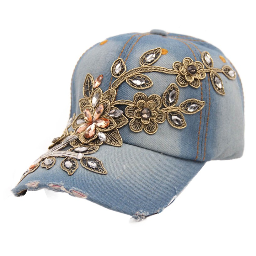 New Fashion Diamond Flower Women Caps