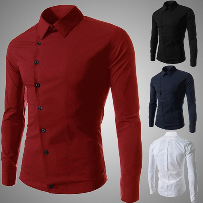 New Fashion Mens Solid Cotton Shirts