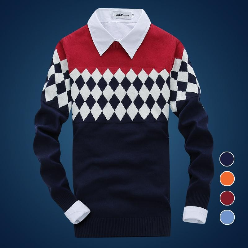 New Fashion Plaid Casual Knitted Sweaters