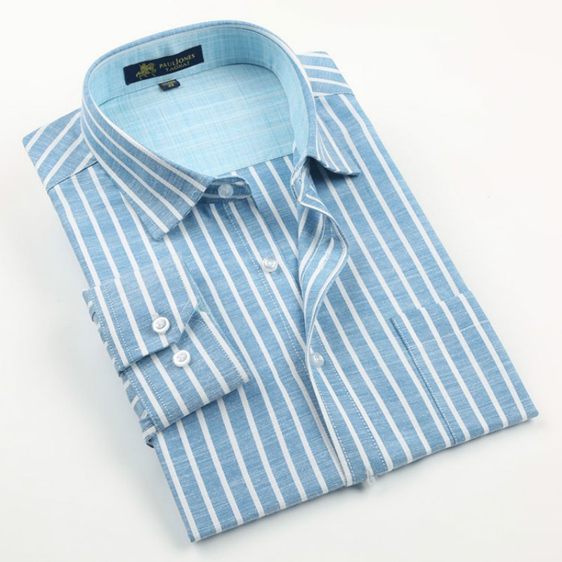 New Striped Mens Long Sleeve Casual Shirts