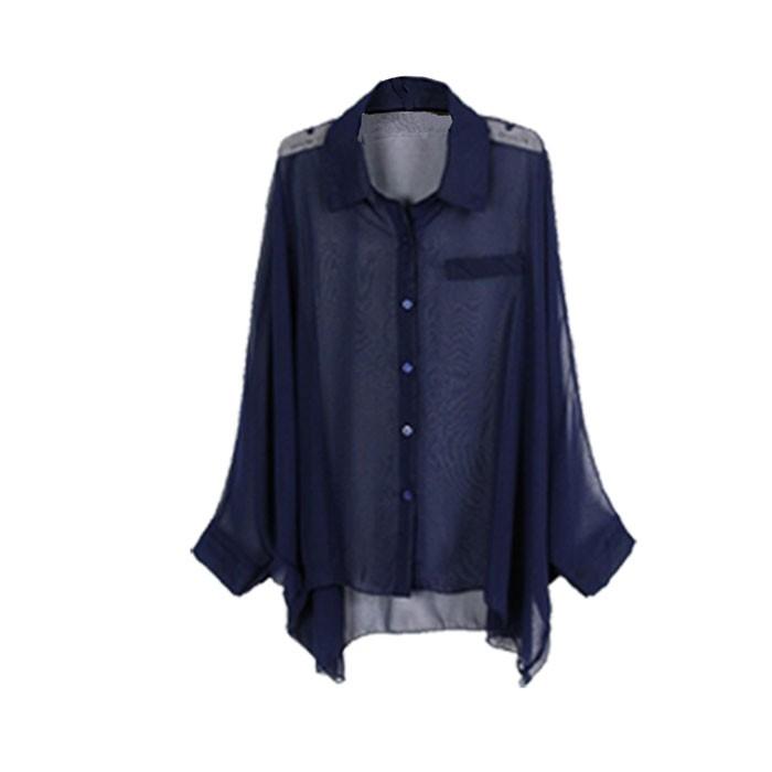 New Stylish V Neck Chiffon Womens Shirts