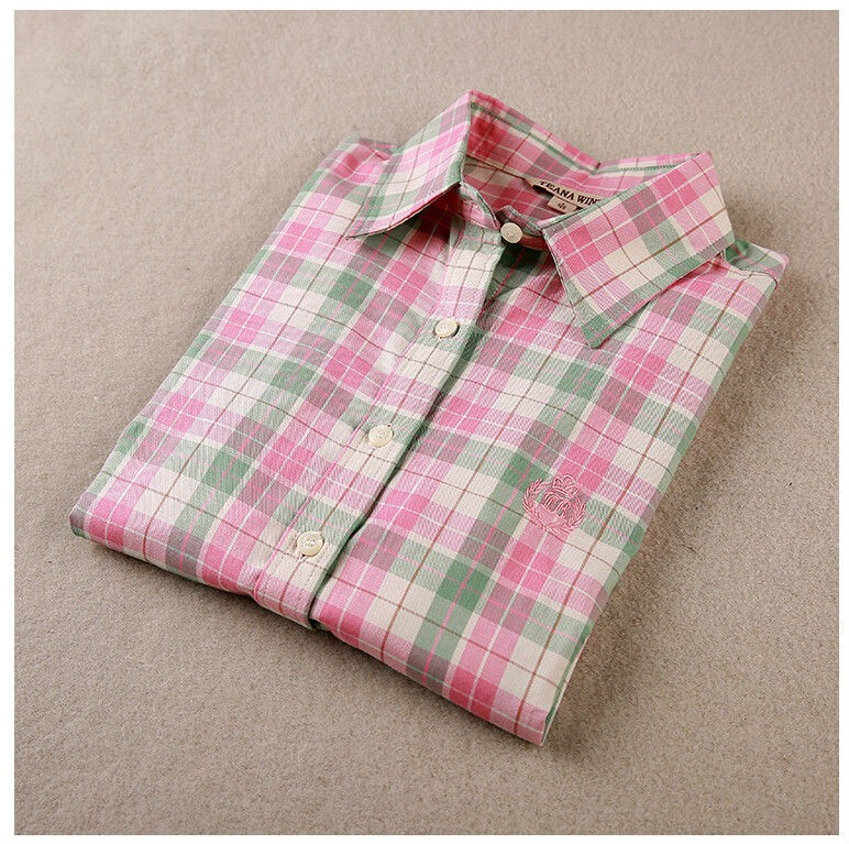 New Women Plaid Long Sleeved Shirts