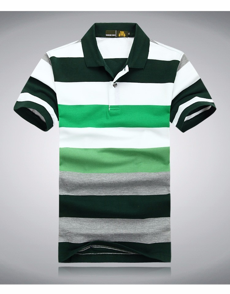 Unique Colored Striped Casual Mens Polos