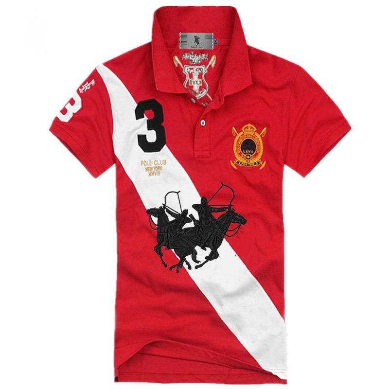 White And Black Embroidery Mens Polos