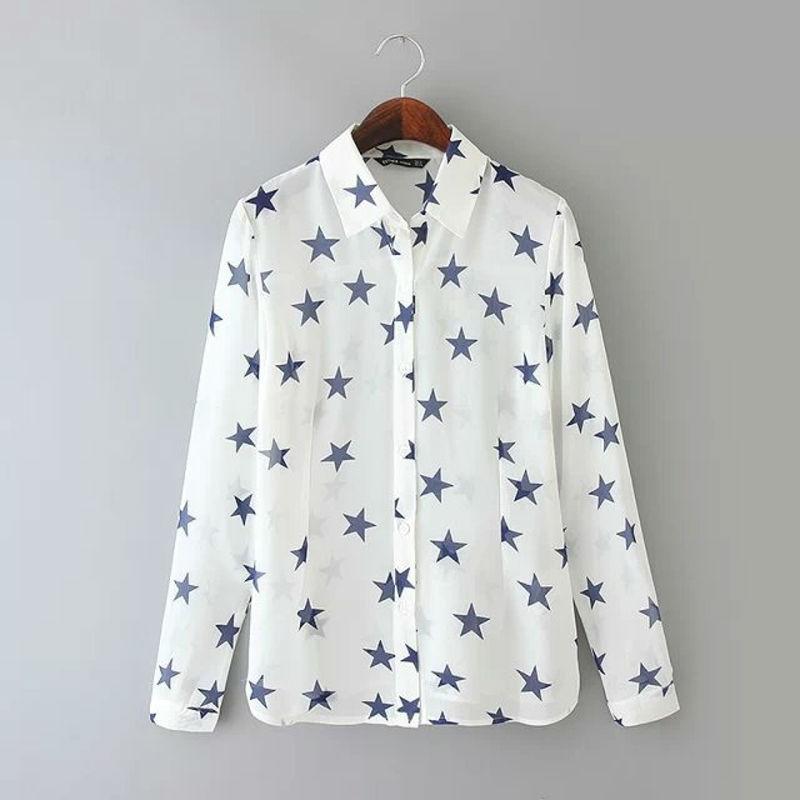 White Women Fashion Chiffon Casual Shirt