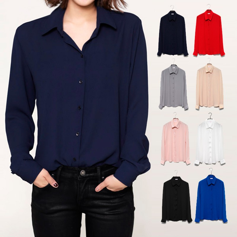 Women Long Sleeve Chiffon Shirts - 1